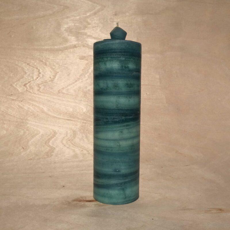 handgemachte petrol gerollte Streifen Kerze