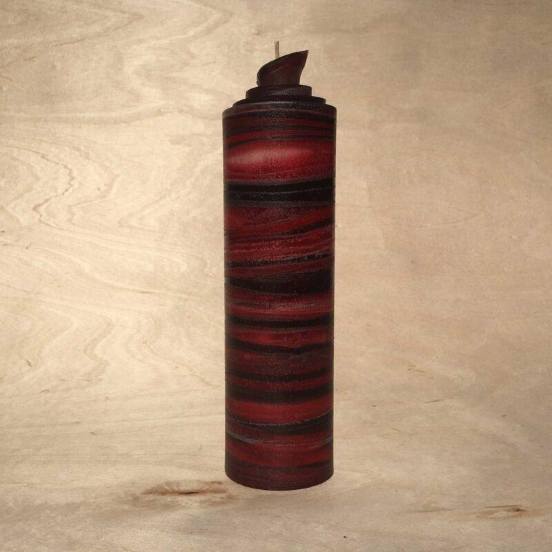 handgemachte rot schwarze gerollte Streifen Kerze