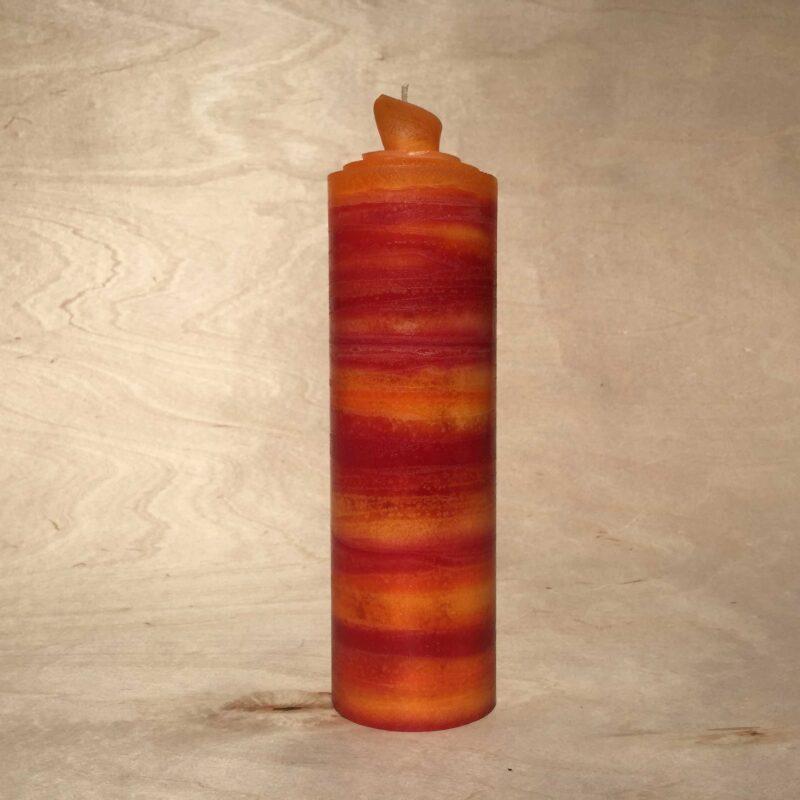 handgemachte rot orange gerollte Streifen Kerze
