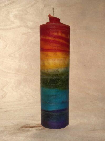 handgemachte gerollte Regenbogen Kerze