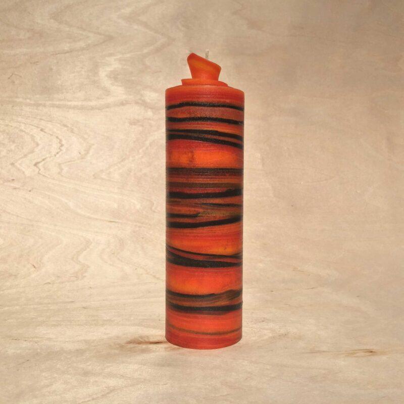 handgemachte orange schwarz gerollte Streifen Kerze