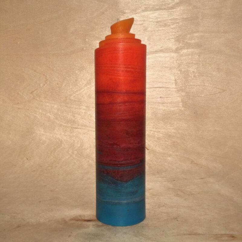 handgemachte türkis rot orange gerollte Streifen Kerze